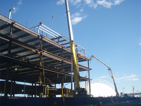 Steel erection finishes on the West building